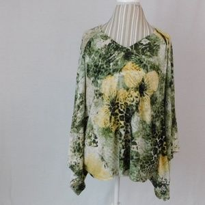 Knit floral pullover kimono sleeve s/m